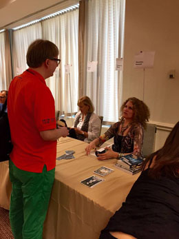 me getting a book signed by Alexandra Sokoloff (photo by Eleanor Cawood Jones)